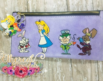 Alice small purse large wallet hand painted