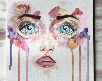 Colorful watercolor face painting
