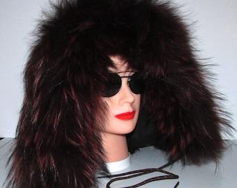 Superbe capuchon de fourrure de vison brun foncé  garni de  fourrure de renard \Superbe mink fur hood trim with fox fur