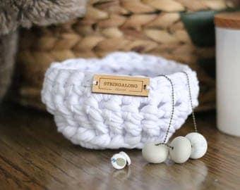 Cotton crochet small decor basket