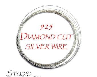 925 sterling silver diamond cut wire 22, 20, 18, 16, 15 ga, sterling silver wire, silver wire, wire, diamond cut, 925 silver - 1 Ft (30 cm)