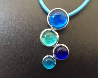 Shades of Blue Fused Glass Pendant Necklace