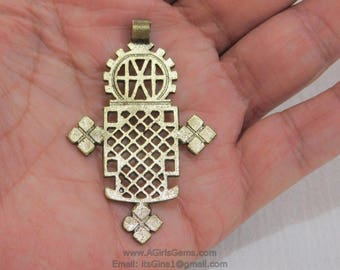 Gold Brass Ethiopian Coptic Cross Jewelry Pendant 2.25 Inch Small African Cross Pendants Religious Jewelry Making Supplies