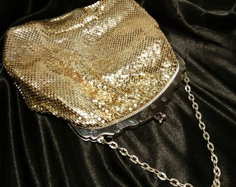 Vintage gold mesh evening purse, Whiting and Davis, large chain mail purse