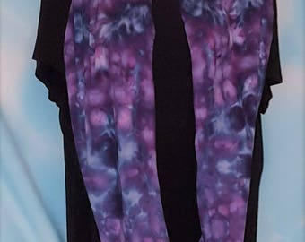 Ice Dyed Marbled Tie Dye Cotton Jersey Knit Infinity Scarf in Purples and Blues with a Surprise Angry Face