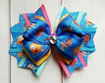 Bubble Guppies Hair Bow/Bubble Guppies Hair Clip/Bubble Guppies Bow/Bubble Guppies Barrette/Character Hair Bow/Mermaid Hair Bow