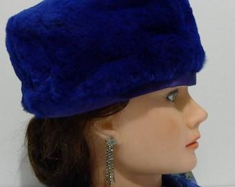 Rare Morgan's blue sheared beaver fur pillbox hat - XS - Unique chapeau pillbox  de castor rasé  XP