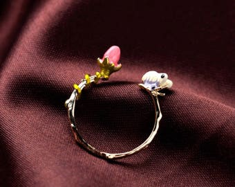 Butterfly and flower ring ajustable