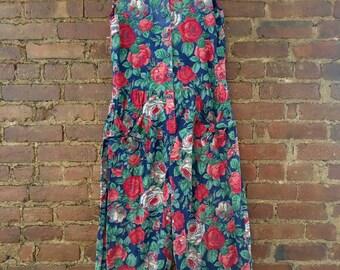 Vintage flower print summer jumpsuit