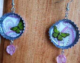 Green butterfly accent bottle cap earrings