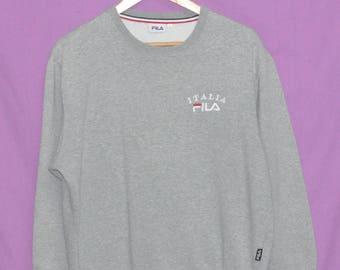 Vintage 90s FILA Italia Spell Out Small Logo Sweatshirt Sweater Crewneck Medium Size Grey