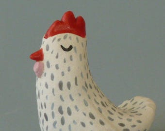 White Ceramic Chicken with Grey Flecks (small desktop ceramic sculpture).