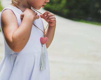 Little girls ivory leather tassel necklace with heart wool felt pom pom