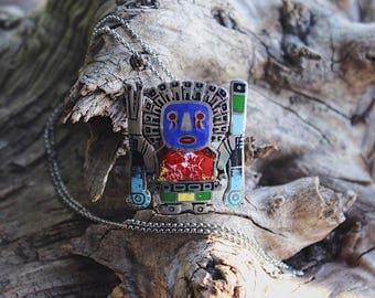 Peruvian sterling silver enamel Viracocha pendant/pin