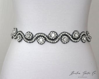 Gray Rhinestone Dress Sash - The Perfect Elegent Wedding Dress Belt