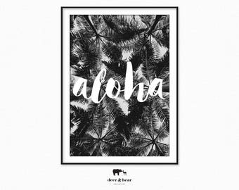 Aloha Typography Palm Tree Printable Summer Decor Black White Wall Art Tropical Summer Poster Monochrome Minimal Design Bohemian Handwritten