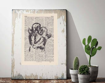 Print BANKSY - VIRTUAL LOVE - antique book page - portrait
