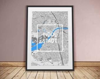 Ingolstadt-framed city-digital printing