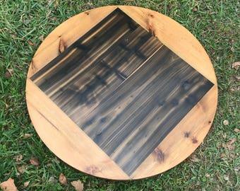 Rustic Reclaimed Handmade ROUND Wood Table Top MULTI SIZE Bar Restaurant  Farmhouse Urban Rustic Shabby Chic