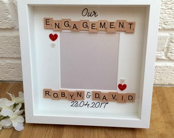 Engagement frame, engagement gift, engagement memory frame, couples gifts, wedding gifts, engagement present, engagement picture frame