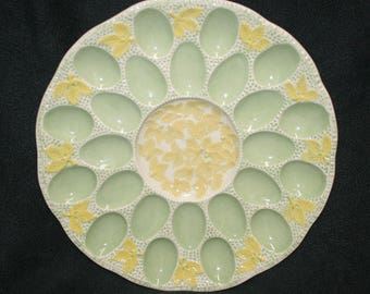 Vintage Ceramic Hand Painted Sunflower Floral Deviled Egg Plate EUC 24 eggs