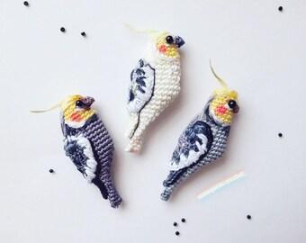 Brooch Parrot Corella, cockatiel Brooch, handmade crochet bird