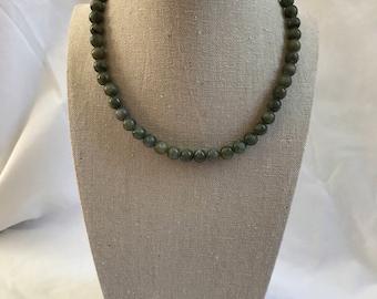 Vintage Bead Necklace, Green Bead Necklace, Retro, Hippie, Estate Jewelry