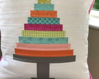 Birthday cake cushion, layer cake cushion, cake cushion, patchwork cushion