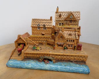 Unusual Vintage Wooden Folk Art Seaside,Harbour Model, Diorama - with houses,quay side scene, lifeboat,rowing boat