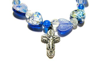 Catholic Bracelet, Crucifix Bracelet, Stretch Bracelet, Foil Glass Beads, Blue Bracelet, Religious Bracelet