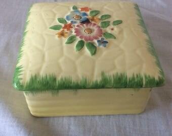 Crown Devon Floral Ceramic Lidded Box.