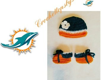 Miami Dolphins Infant Girls' Booties/Miami Dolphins Infant Girls' Hat