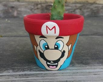 Mario Character Handpainted terra cotta pot flowerpot