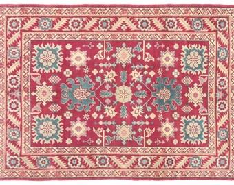 "4'8""x6'9'' Oushak hand knotted Vintage Rug, Red blue Turkish Rugs, Decorative wool Rug, soft wool oushak floral design oriental antique rug"