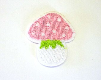 Embroidered Pink Fairy Toadstool Balloon Iron on or Sew on Patch - H575