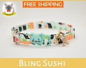 Cat collar with bling fish sushi charm, cat collar,kitten collar,safety cat collar, mint cat collar,blue,silver,Crafts4Cats