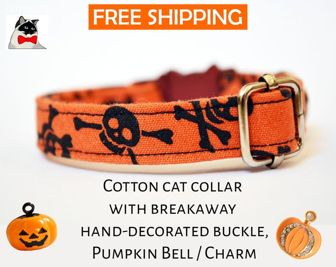 Featured listing image: Halloween cat collar ''Bon-a-Skull'' - Pretty orange cat collar with pumpkin charm or pumpkin bell - breakaway kitten collar - cat collar