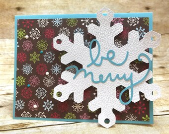 Be merry snowflake holiday Christmas 10-card set