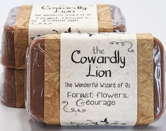 Cowardly Lion The Wonderful Wizard of Oz Glycerin Soap Bar - Handmade Custom Book Character Scent - tawny, forest, courage, halloween, favor