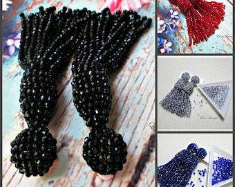 Black/Dark Red/Silver/deep blue/Austrian crystal beads tasselShort-tassel/handmade/oscar de la renta/clip on earrings/beading dangle earring