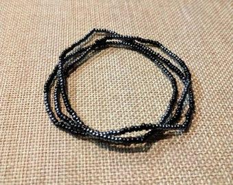 Silver and black wrap bracelet/ stretchy wrap bracelet/black wrap bracelet/beaded wrap bracelet