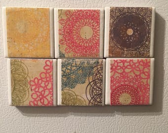 Fridge Magnets Set of Six (6) Spiral Patterned - Refrigerator Magnets, Pink, Yellow, Purple, Green,