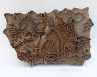 Vintage Antique Large Long Flower Mughal Design Paisley Wooden Stamp Printing Block Design.