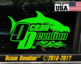 "Hammerhead Shark ""Ocean Devotion"" Vinyl Decal/Sticker- Salt Life, Beach Life,Reel Life Surfing, Fishing, Sea Life, Automobile, Car, Boat"