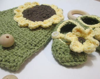 Baby gift set/Baby crochet hat/Baby crochet shoes/Sunflower crochet/baby/Crochet baby Hat/Crochet baby shoes/Sunflower Gift set