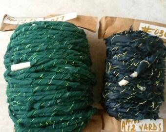 Two-Pack-Fabric Art Yarn-Hand Spun Charmeuse--hand spun fabric handmade rag yarn twine rug weaving supply material knit weave