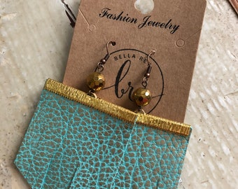 Turquoise fringe earrings gold
