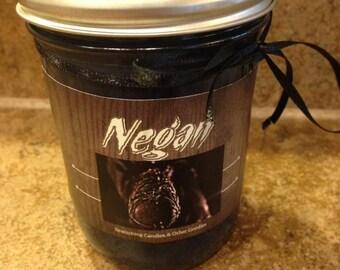 Small Mason Jar Negan Candle. TWD, The Walking Dead, Lucille, Nerd, Geek, Zombie, Fan, Gift, Pop Culture
