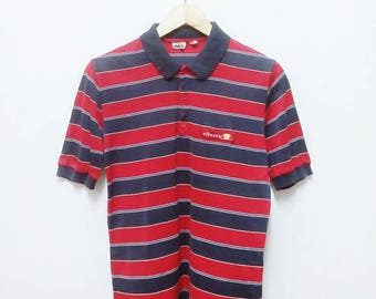Hot Sale!!! Rare Vintage 80s ELLESSE Striped Polo Shirt Hip Hop Skate Swag Made In Italy Medium Size