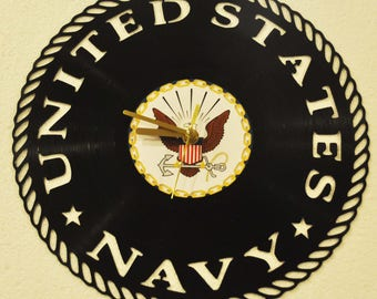 Navy inspired vinyl record clock ** FREE SHIPPING**